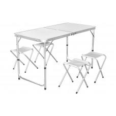 InGarden Állítható magasságú összecsukható kempingasztal székekkel - 120 cm Előnézet
