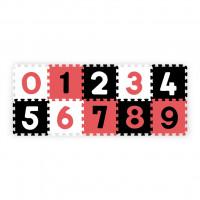 Habszivacs szőnyeg puzzle 30x30 cm 10 darab BABY ONO - fekete, fehér, piros
