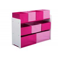 Játéktároló állvány - fehér/pink