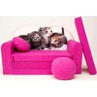 Gyerek kanapé - kiscicás/ rózsaszín