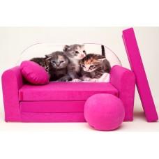 Gyerek kanapé - kiscicás/ rózsaszín Előnézet
