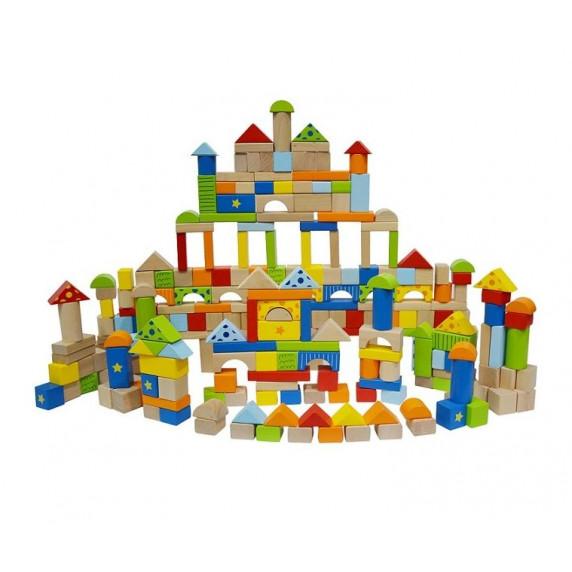 Fa építőkocka gyermekeknek Inlea4Fun 250 darabos