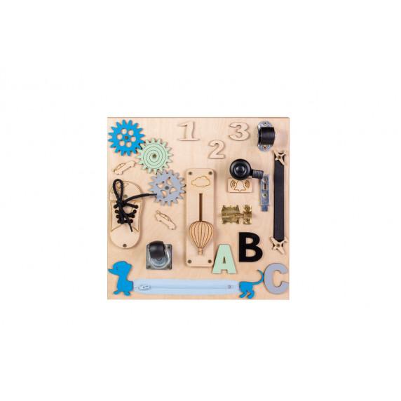 Matatófal, foglalkoztató tábla gyerekeknek 30x30 cm MT05 - natúr/kék