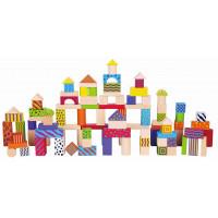 Fa építőkocka gyermekeknek 100 darabos Inlea4Fun