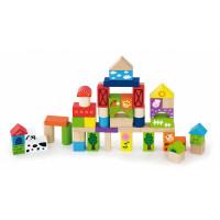 Fa építőkocka gyermekeknek 50 darabos Inlea4Fun - Farm