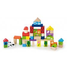 Inlea4Fun fa építőkocka gyermekeknek 50 darabos - Farm Előnézet
