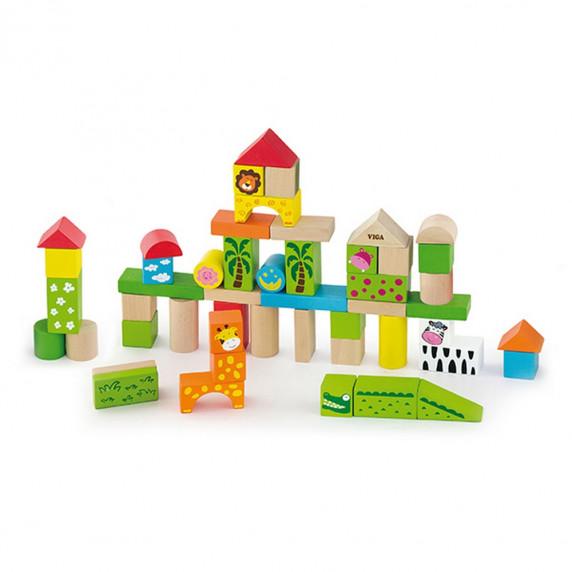 Fa építőkocka gyermekeknek Inlea4Fun 50 darabos - Zoo állatkert