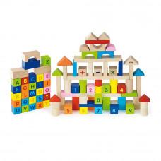 Fa építőkocka gyermekeknek 100 darabos Inlea4Fun - ABC és számok Előnézet