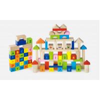 Fa építőkocka gyermekeknek 100 darabos Inlea4Fun - ABC és számok