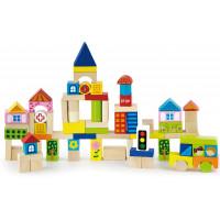 Fa építőkocka gyermekeknek Inlea4Fun 75 darabos - City set