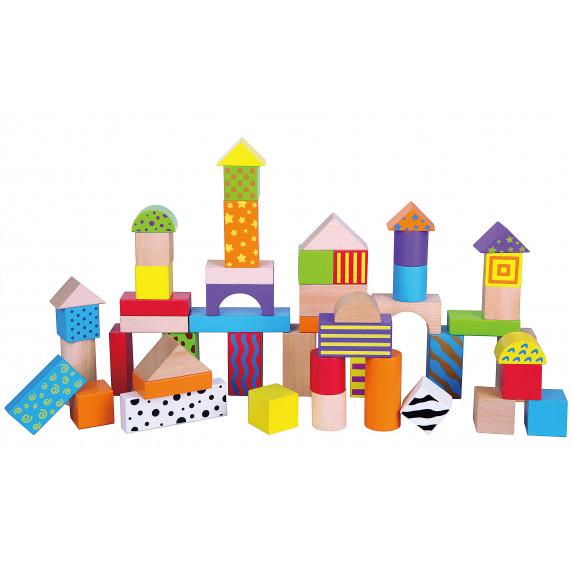 Fa építőkocka gyermekeknek Inlea4Fun 50 darabos