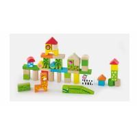 Inlea4Fun fa építőkocka gyermekeknek 50 darabos Zoo állatkert