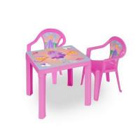 Kisasztal 2 székkel - Rózsaszín