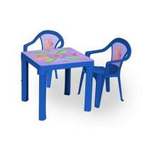 Kisasztal 2 székkel - Kék