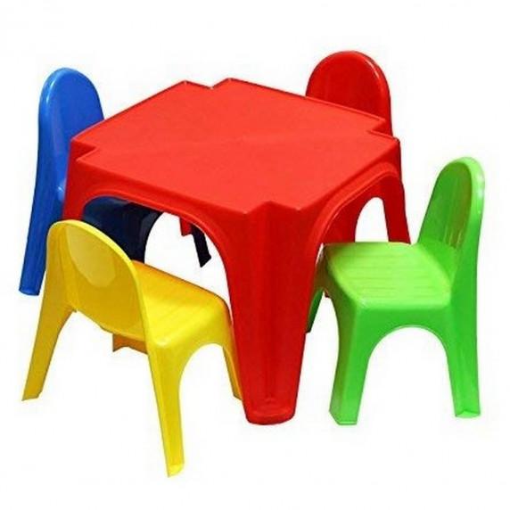 Inlea4Fun KEREN gyerekasztal székekkel - színes
