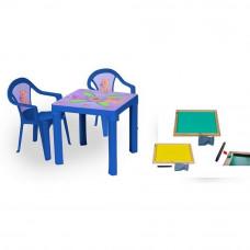 Inlea4Fun szett - kisasztal 2 székkel + két oldalú fa tábla - Kék Előnézet