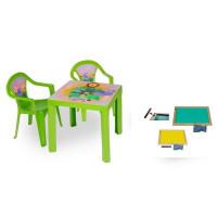 Inlea4Fun szett - kisasztal 2 székkel + két oldalú fa tábla - Zöld