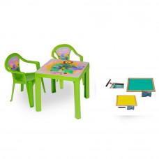 Inlea4Fun szett - kisasztal 2 székkel + két oldalú fa tábla - Zöld Előnézet