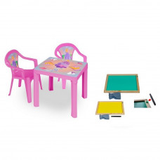 Inlea4Fun szett - kisasztal 2 székkel + két oldalú fa tábla Előnézet