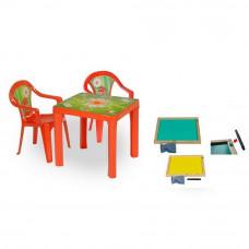 Inlea4Fun szett - kisasztal 2 székkel + két oldalú fa tábla - Piros Előnézet