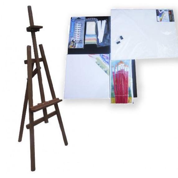 Festőállvány szett 130 cm Inlea4Fun S130-3 - sötétbarna