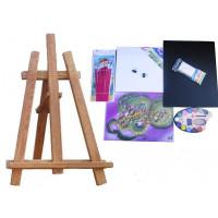 Inlea4Fun S60-2 asztali festőállvány szett - barna