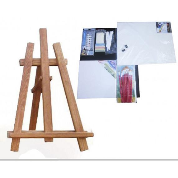 Asztali festőállvány szett Inlea4Fun S60-3 - barna