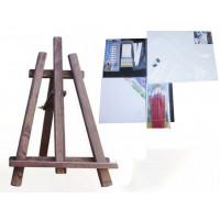 Asztali festőállvány szett Inlea4Fun S60-3 - sötétbarna