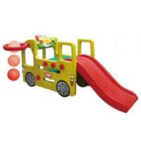Inlea4Fun autóbusz kerti játszótér csúszdával és játék műszerfallal 152 cm