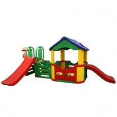Inlea4Fun mega kerti játszótér csúszdával és kisházzal 214 cm Előnézet