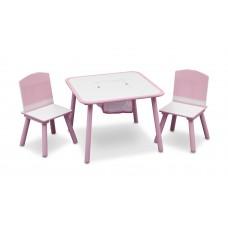 Gyerekasztal székekkel - rózsaszín Előnézet