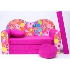 Gyerek kanapé - virágos/ rózsaszín Előnézet