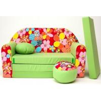 Gyerek kanapé - virágos/ zöld