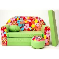 Gyerek kanapé - virágos/ zöld Előnézet