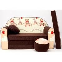 Gyerek kanapé - mackós/ barna