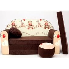 Gyerek kanapé - mackós/ barna Előnézet