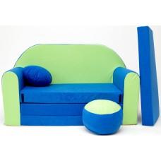Gyerek kanapé - zöld/kék Előnézet