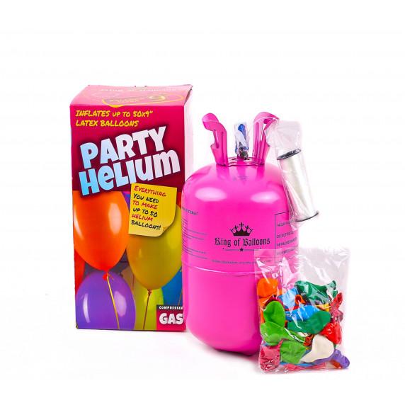 Aga4Kids PARTY 50 MIX Hélium palack 50 lufi felfújásához Kék/Zöld/Rózsaszín