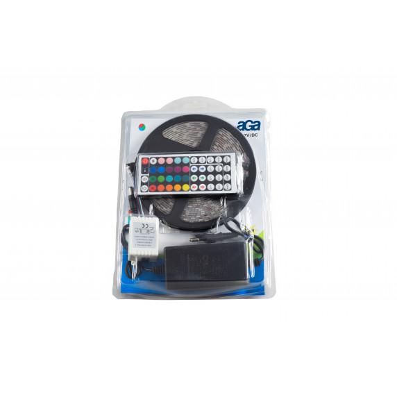 LED fényfüzér RGB 5 m + táp, távirányító Aga