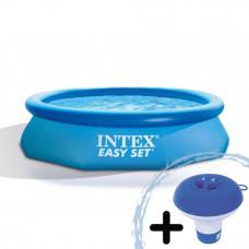 INTEX 28112NP Easy Set medence 244x76 cm papírszűrős vízforgatóval + ajándék klóradagoló
