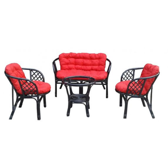 LEX BAHAMA rattan kertibútor szett - fekete/piros