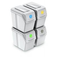 Szelektív hulladékgyűjtő szemetes SORTIBOX 4x20l Aga - Fehér