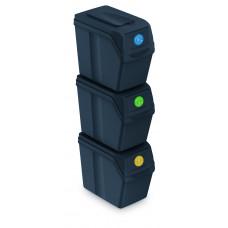 Szelektív hulladékgyűjtő szemetes SORTIBOX 3x25 l Aga - Fekete