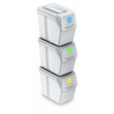 Szelektív hulladékgyűjtő szemetes SORTIBOX 3x25 l Aga - Fehér