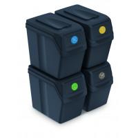 Szelektív hulladékgyűjtő szemetes SORTIBOX 4x20l Aga - Fekete