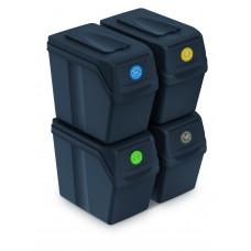 Szelektív hulladékgyűjtő szemetes SORTIBOX 4x25 l Aga - Fekete