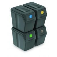Szelektív hulladékgyűjtő szemetes SORTIBOX 4x20l Aga - Szürke
