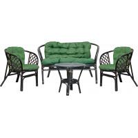 Lex BAHAMA rattan szett - fekete/zöld