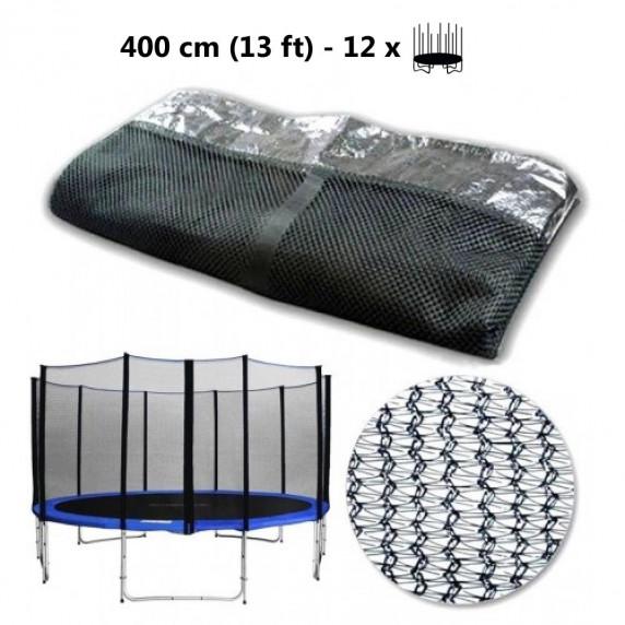 Külső védőháló 400 cm átmérőjű trambulinhoz 12 rudas AGA - Fekete