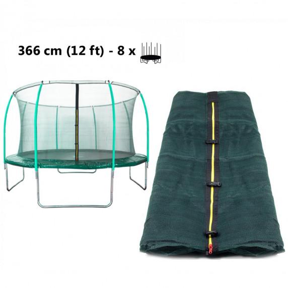 Belső védőháló 366 cm átmérőjű trambulinhoz 8 rudas - felső köríves AGA - Sötét zöld